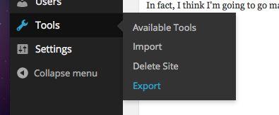 Export Menu
