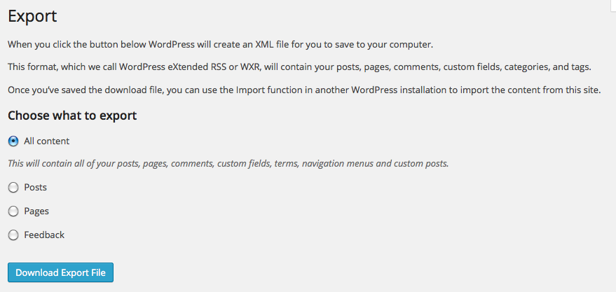WordPress Export Screen